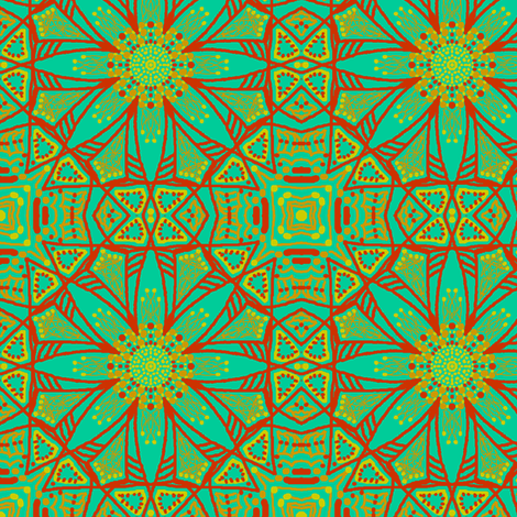 Turquoise and Rust fabric by tallulahdahling on Spoonflower - custom fabric