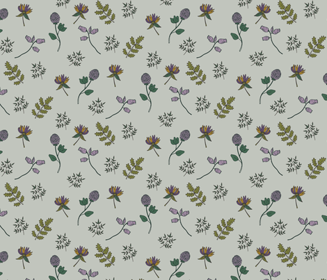 Spring Wildflower in Gold 05 fabric by jacquelinehurd on Spoonflower - custom fabric