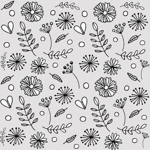Flower Garden in Grey
