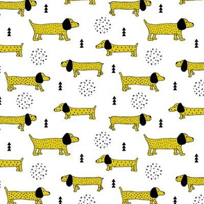 Adorable little doxie dachshund puppy cute kids dogs theme scandinavian style gender neutral mustard yellow
