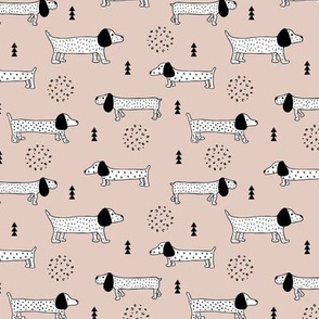Adorable little dachshund puppy cute kids dogs theme scandinavian style gender neutral beige