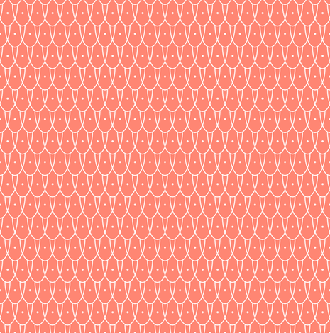 Flew the Coop* (Space Fruit) || chicken wire vintage farm eggs feathers polka dots geometric living coral fabric by pennycandy on Spoonflower - custom fabric