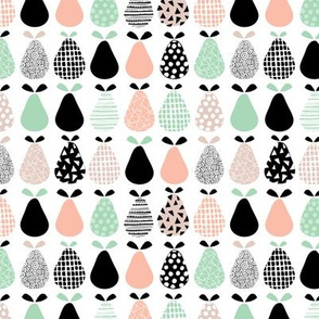 Cool pear garden geometric memphis scandinavian style fruit illustration gender neutral coral mint