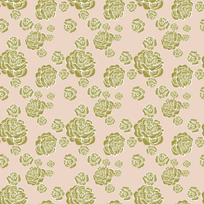 wood cut roses - olive/white/putty