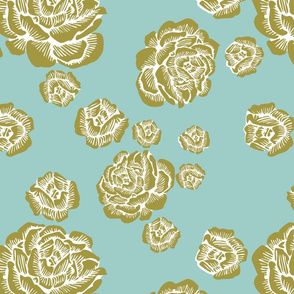 wood cut roses - olive/white/aqua