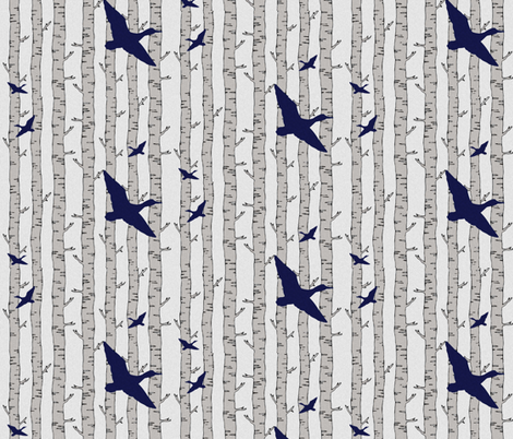 Birch ducks fabric by sproutz on Spoonflower - custom fabric