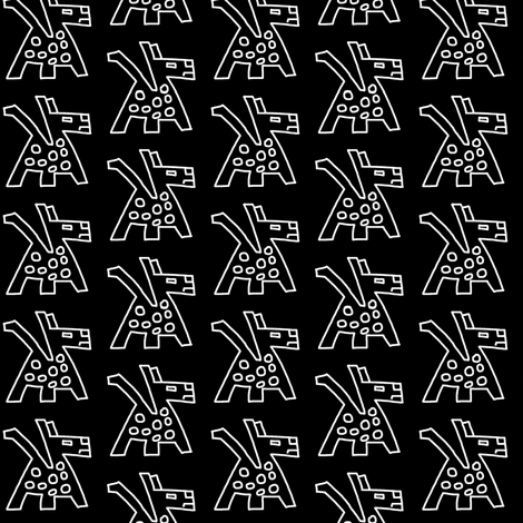 Primitive Dogs Black White fabric by eve_catt_art on Spoonflower - custom fabric