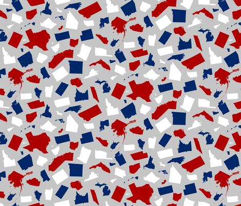United States Scatter (Silver) fabric by robyriker on Spoonflower - custom fabric
