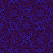 Digital floral blue and purple