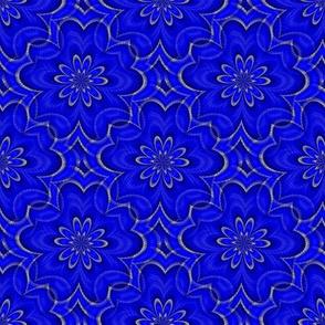 Digital Floral Bright Blue