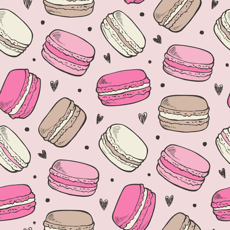 Macarons Sweets Candy on Pink fabric by caja_design on Spoonflower - custom fabric
