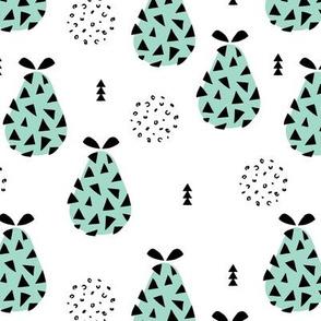 Cool pear garden geometric memphis scandinavian style fruit illustration gender neutral mint