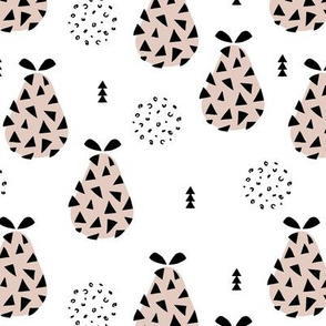 Cool pear garden geometric memphis scandinavian style fruit illustration gender neutral beige