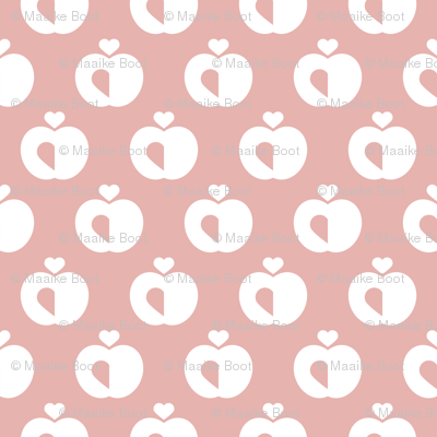 Apples in pastel retro scandinavian style spring summer fruit soft pastel pink