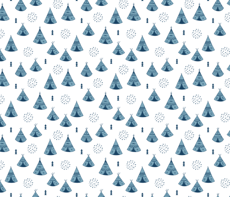 New Indian summer winter geometric scandinavian woodland hippie camping trip blue navy fabric by littlesmilemakers on Spoonflower - custom fabric