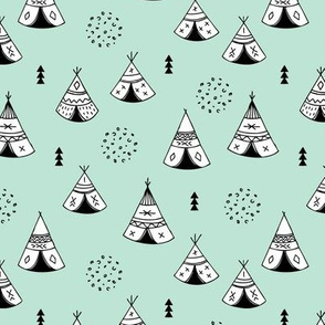 New Indian summer geometric scandinavian woodland hippie camping trip gender neutral mint