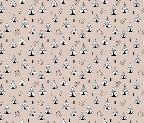 New Indian summer geometric scandinavian woodland hippie camping trip gender neutral beige fabric by littlesmilemakers on Spoonflower - custom fabric
