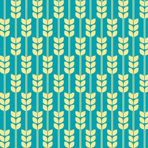 Wheat - Yellow on Turquoise, Small