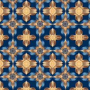 Celtic Crosses-blue/apricot