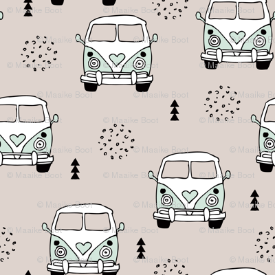 Cool vintage happy camper hippie bus geometric scandinavian illustration design for kids mint LARGE
