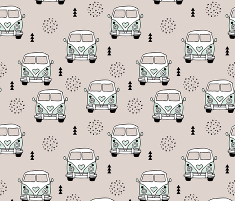 Cool vintage happy camper hippie bus geometric scandinavian illustration design for kids mint LARGE fabric by littlesmilemakers on Spoonflower - custom fabric