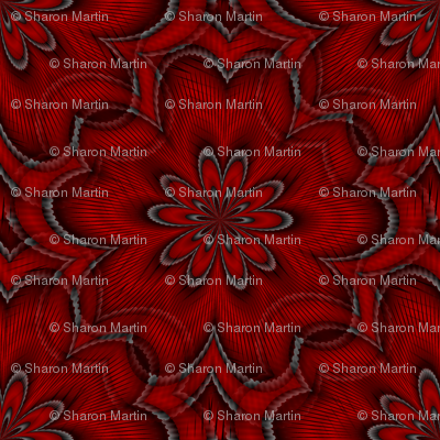 Digital floral deep red