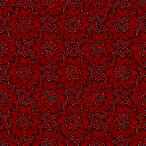 Digital floral deep red fabric by flutterbi on Spoonflower - custom fabric