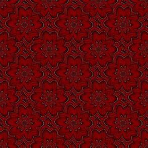 Digital floral deep red
