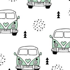 Cool vintage happy camper hippie bus geometric scandinavian illustration design for kids mint XL