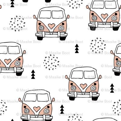 Cool vintage happy camper hippie bus geometric scandinavian illustration design for kids pink XS