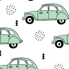 Cool vintage oldtimer cars paris collection geometric scandinavian illustration design for kids mint XL