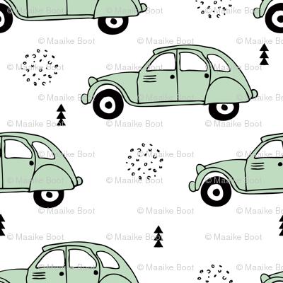 Cool vintage oldtimer cars paris collection geometric scandinavian illustration design for kids mint XS