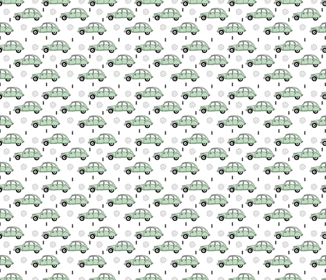 Cool vintage oldtimer cars paris collection geometric scandinavian illustration design for kids mint XS fabric by littlesmilemakers on Spoonflower - custom fabric