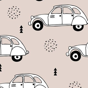 Cool vintage oldtimer cars paris collection geometric scandinavian illustration design for kids beige XL
