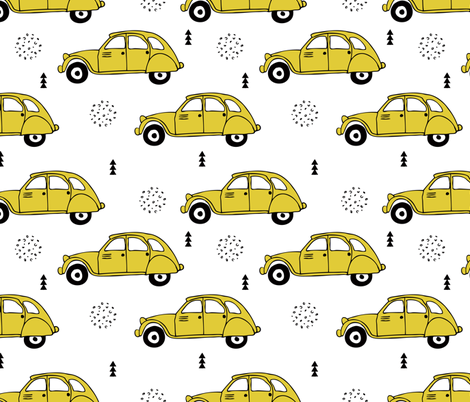 Cool vintage oldtimer cars paris collection geometric scandinavian illustration design for kids mustard yellow fabric by littlesmilemakers on Spoonflower - custom fabric