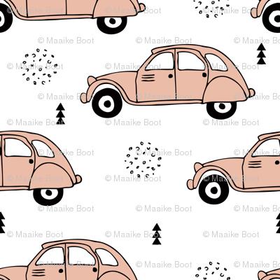 Cool vintage oldtimer cars paris collection geometric scandinavian illustration design for girls pastel pink coral XL