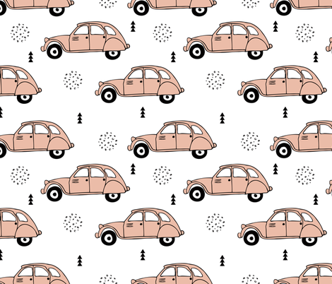 Cool vintage oldtimer cars paris collection geometric scandinavian illustration design for girls pastel pink coral XL fabric by littlesmilemakers on Spoonflower - custom fabric