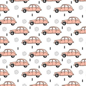 Cool vintage oldtimer cars paris collection geometric scandinavian illustration design for girls pastel pink coral XS