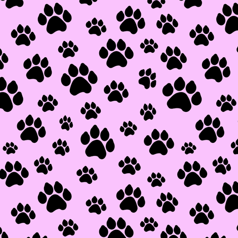Doggy Paws - Pink // Small fabric by thinlinetextiles on Spoonflower - custom fabric