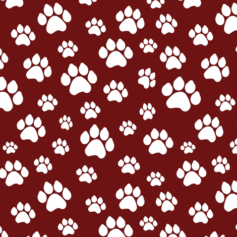 Doggy Paws - Maroon // Small fabric by thinlinetextiles on Spoonflower - custom fabric