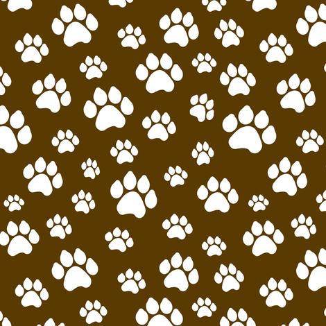 Doggy Paws - Brown // Small fabric by thinlinetextiles on Spoonflower - custom fabric