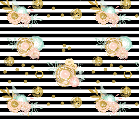 Black_stripes__pink_and_gold_flowers fabric by jennymweigum on Spoonflower - custom fabric
