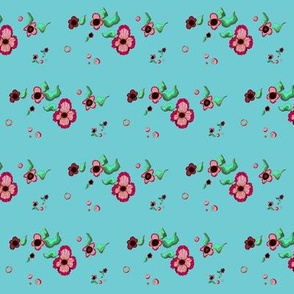 Pink, turquoise, mint floral