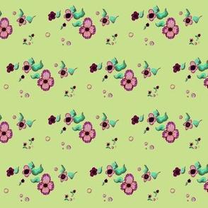 Lilac, purple, light lime, mint floral