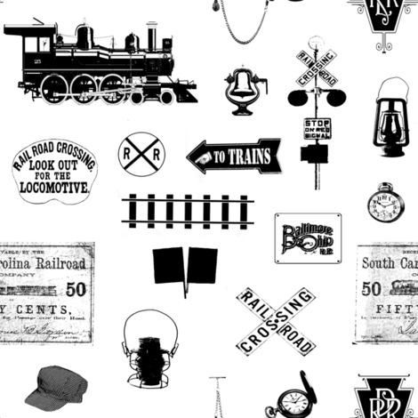 Railroad Symbols // Small fabric by thinlinetextiles on Spoonflower - custom fabric