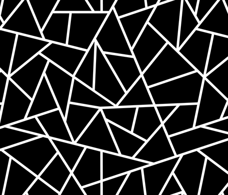 Abstract Geometric White on Black Large fabric by sierra_gallagher on Spoonflower - custom fabric