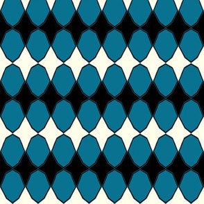 Decagons in turquoise and black