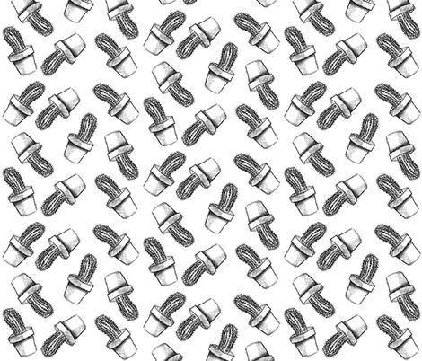 Sketchy Cactus fabric by sharksvspenguins on Spoonflower - custom fabric