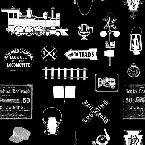 Railroad Symbols - Black // Small fabric by thinlinetextiles on Spoonflower - custom fabric