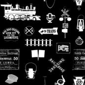 Railroad Symbols on Black